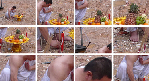 Details of man squating on ground lighting ceremonial candles. Grid of 12 images.