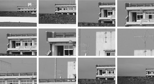 Grid of 12 black and white images showing details of a building