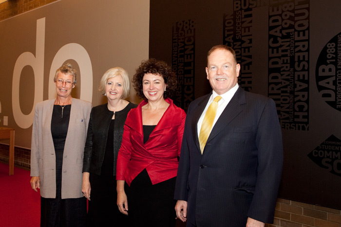 UTS Vice Chancellor, Professor Ross Milbourne, and Chancellor, Professor Vicki Sara, with Professor Rosemary Johnston, Director of the Centre, greeting Thérèse Rein.
