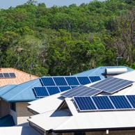 Suburban rooftop solar panels