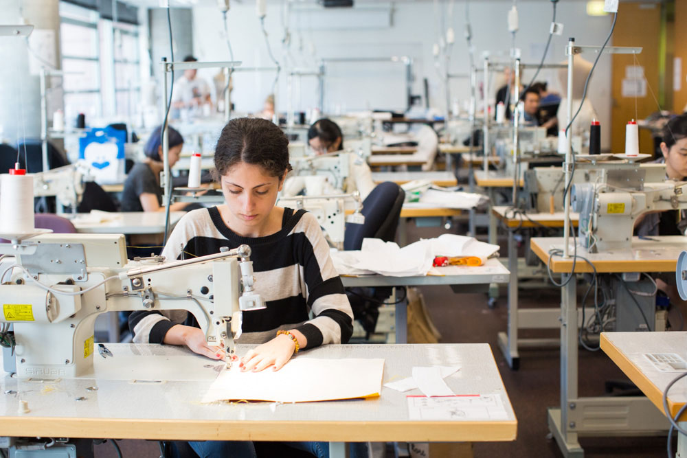 uts fashion students in sewing workshop