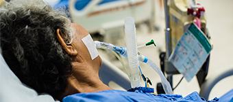 Patient on a ventilator