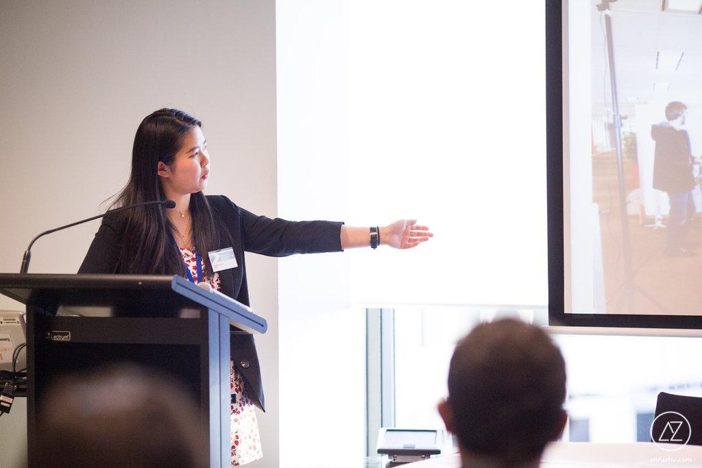 Woman presenting a speech