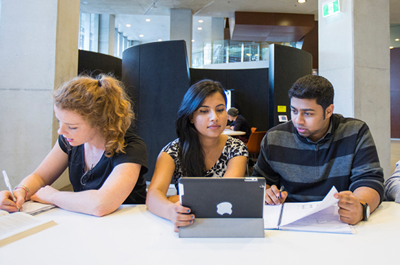 Students using collaborative spaces in UTS's Faculty of Engineering and IT building, the first and largest of three state-of-the-art buildings constructed as part of UTS's billion-dollar City Campus Master Plan. Picture by Anna Zhu