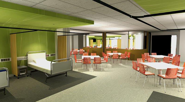 Artist's impression of a new FoH clinical practice lab on level 6.