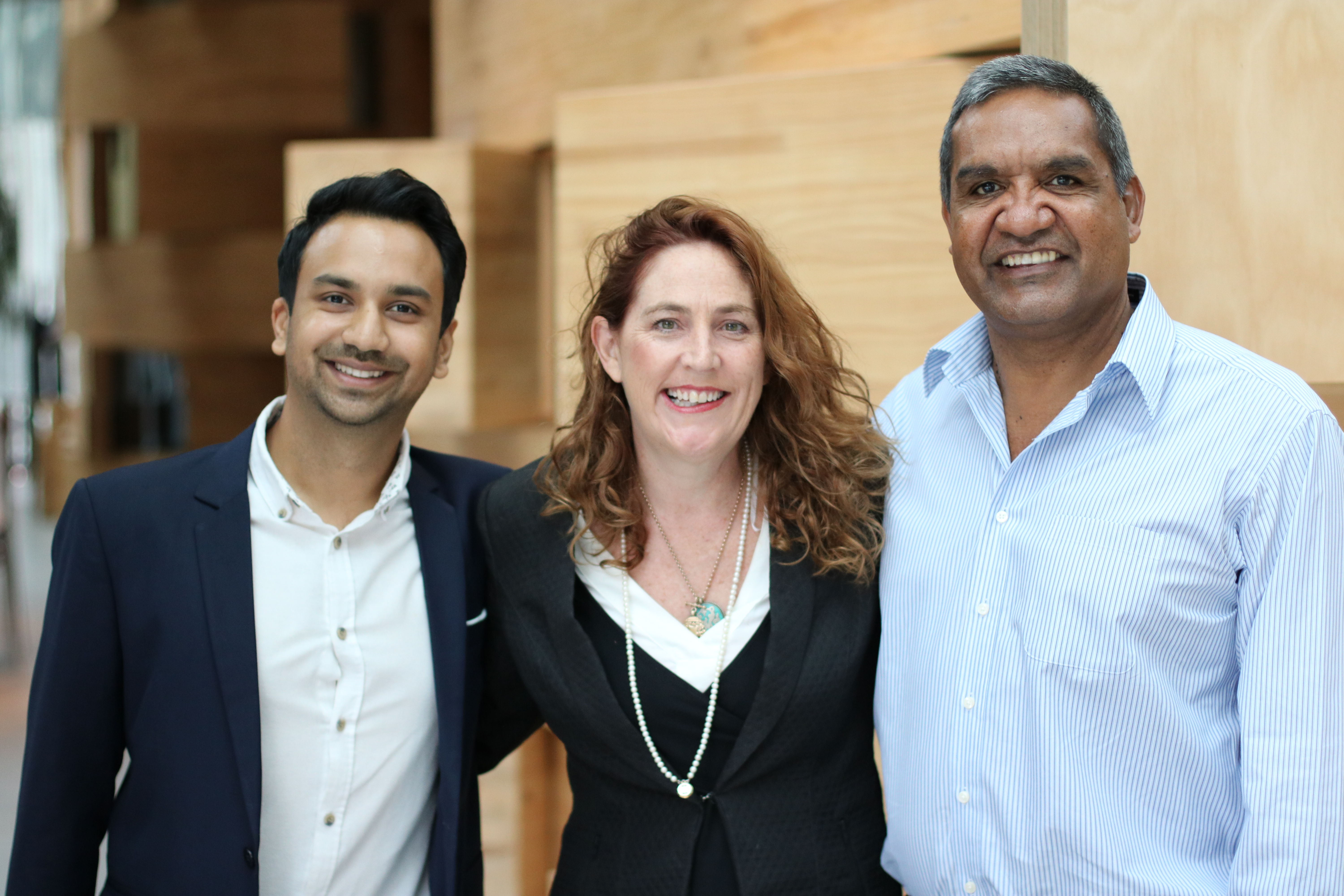 From left, Arjun Bisen, Assoc Prof Bronwen Dalton, and Dean Jarrett