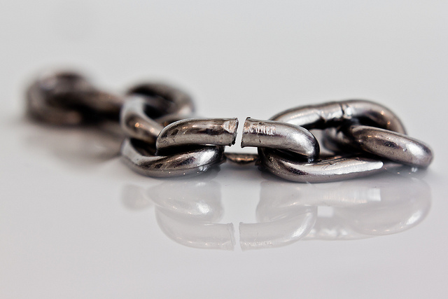 A steel chain with links showing