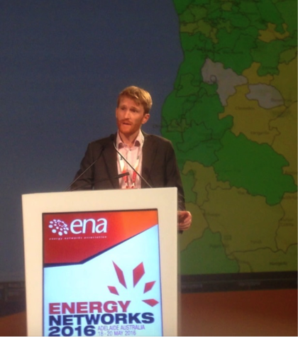 Ed Langham presenting at Energy Networks