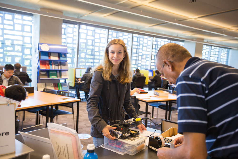 UTS student collects a tool kit from the FEIT Learning Precinct