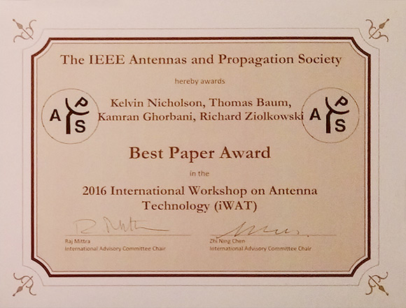 image of certificate for best paper