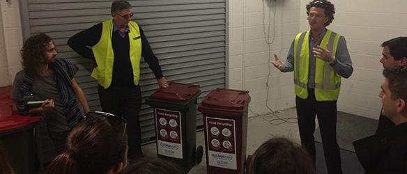Food waste bins in basement