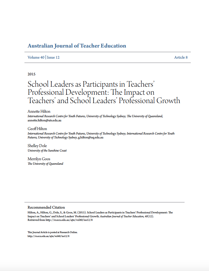 School Leaders as Participants in Teachers' Professional Development: The Impact on Teachers' and School Leaders' Professional Growth