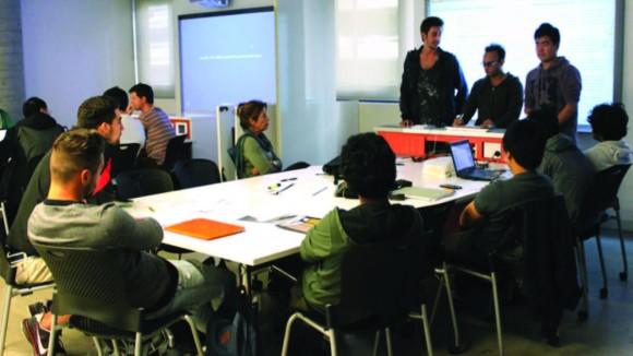 collaborative pod classroom in Building 6