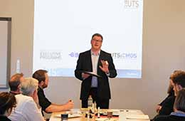 Stephen Kozicki delivering a Triple A Talk for the UTS Business Practice unit