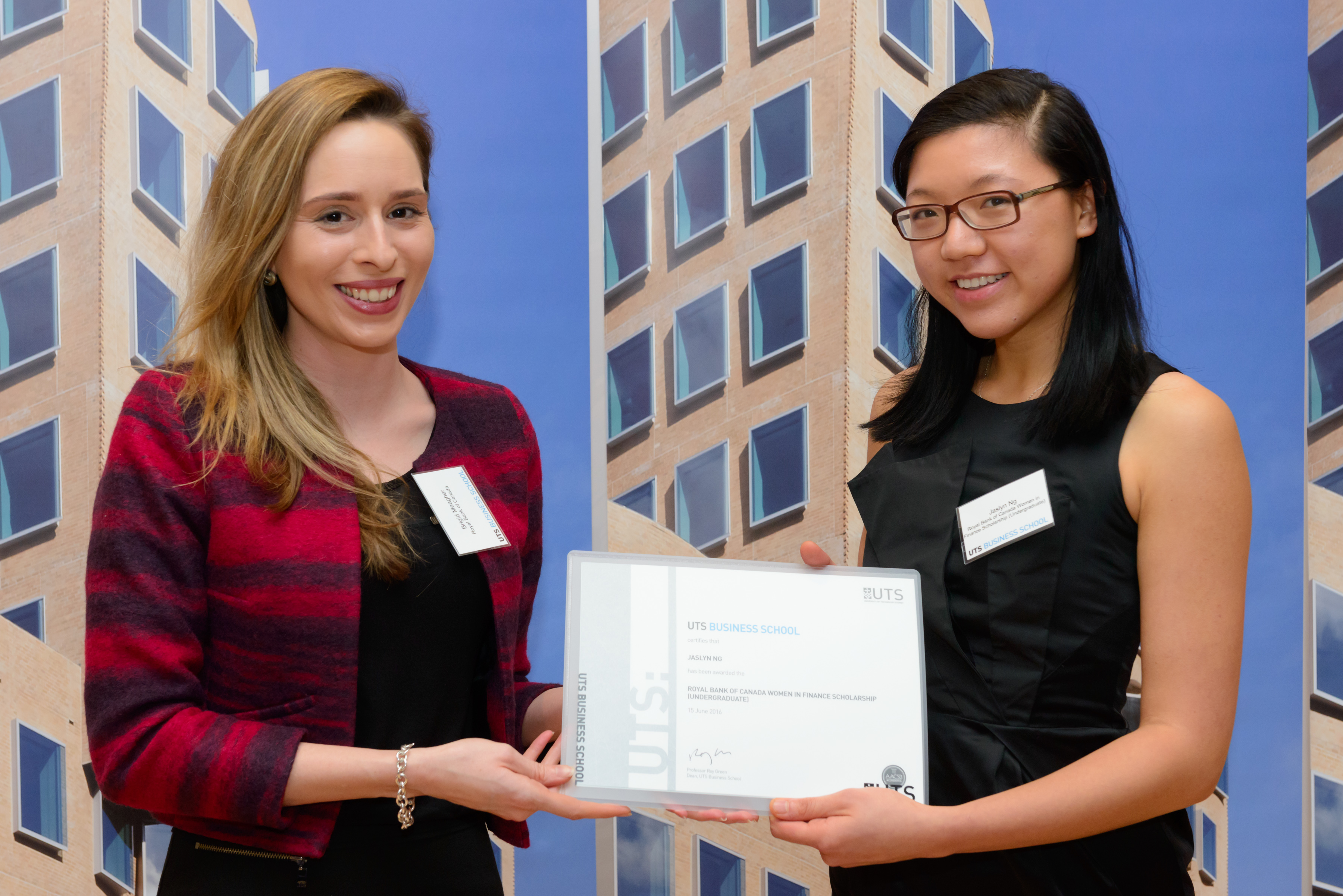 UTS Bachelor of Business student Jaslyn Ng with Royal Bank of Canada Head of HR Brigid Meagher.