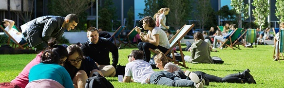 students lounging in deck chairs on Alumni Green on a sunny day