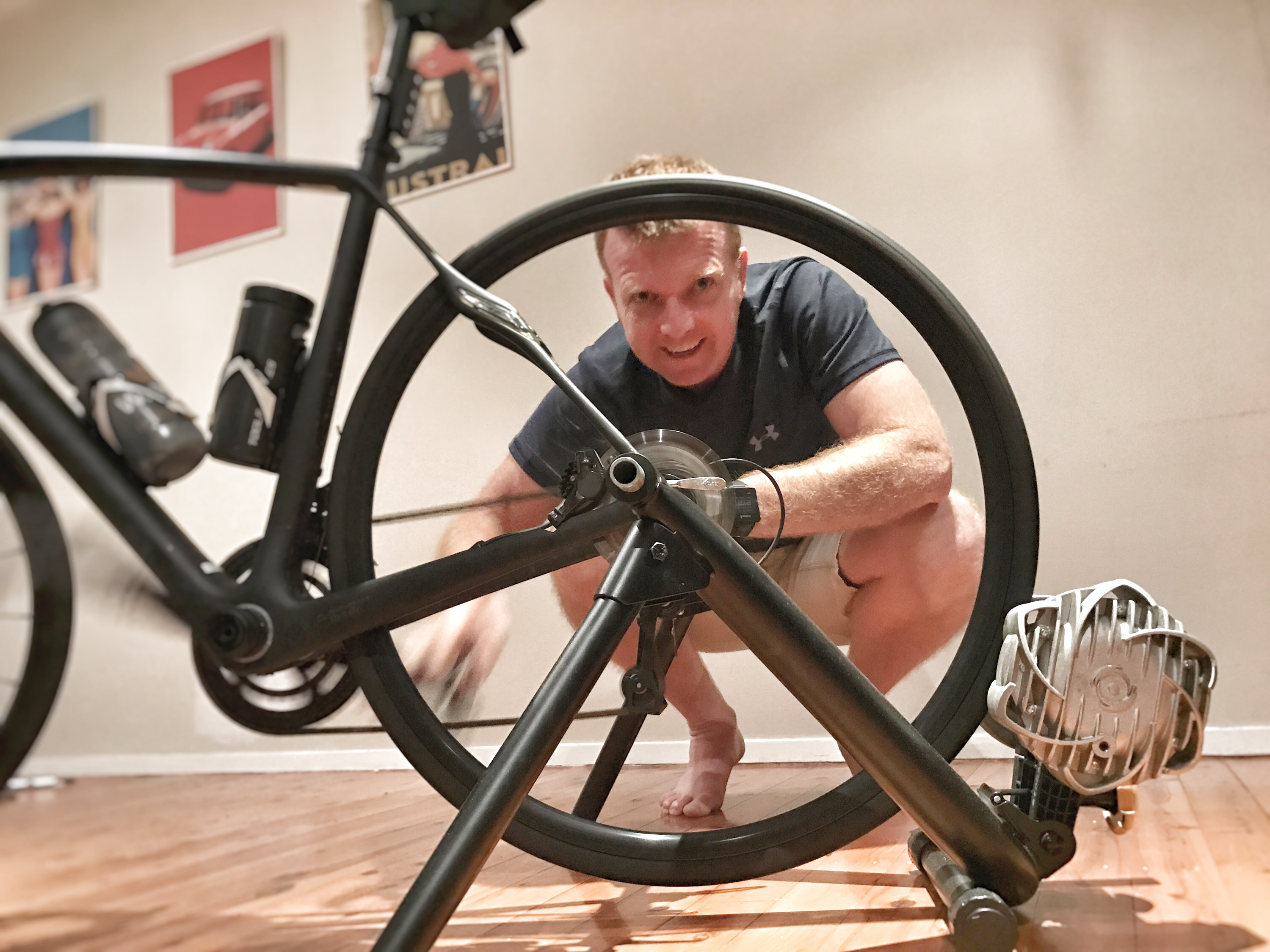 Liam Daley with the bike trainer stand that sparked his delivery idea