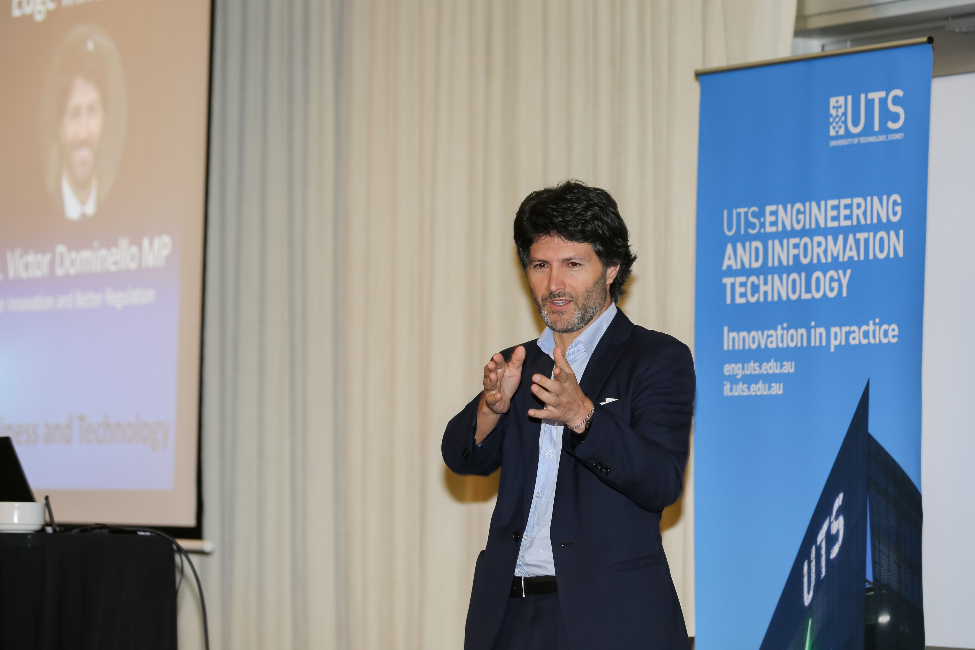 UTS Master of Business and Technology community event MP Victor Dominello speaking