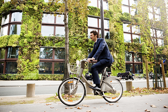 man riding bike past vertical garden