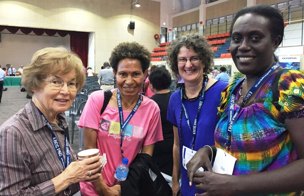 Ms May Lamont, Soroptimists International; Ms Maria Rumints, RHTU; Ms Jodi Thiessen, WHO CC UTS; Ms Bertha Tivut, RHTU at the Medical Symposium Port Moresby PNG