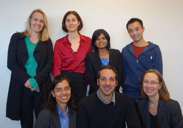 Top from left to right: Margaret O'Brien of Social Traders, Dr Natalia Nikolova of UTS Business School, student Kshitija Deshmukh and Jeremy Chee of at 1-Stop Connections . Bottom from left: Student Lyndell Evans, Juan Pereyra of Pynx and student Sumedha