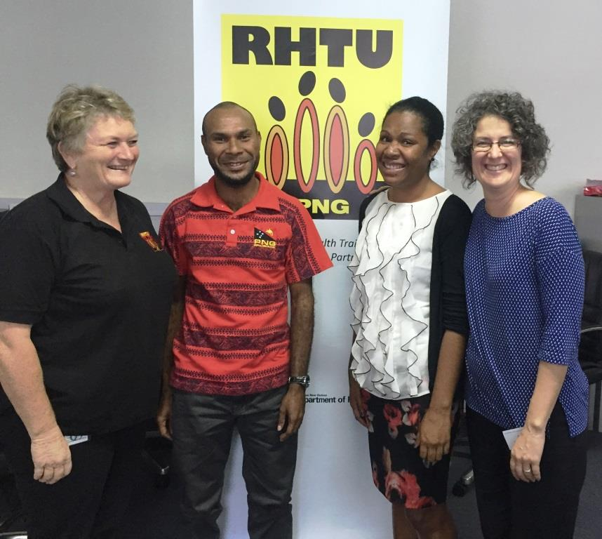 Ms Christine McCracken, Mr Alfred Mark and Ms Peiru Buluke from RHTU with Jodi Thiessen, WHO CC UTS