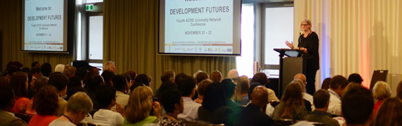 Sam Mostyn presenting at Development Futures conference