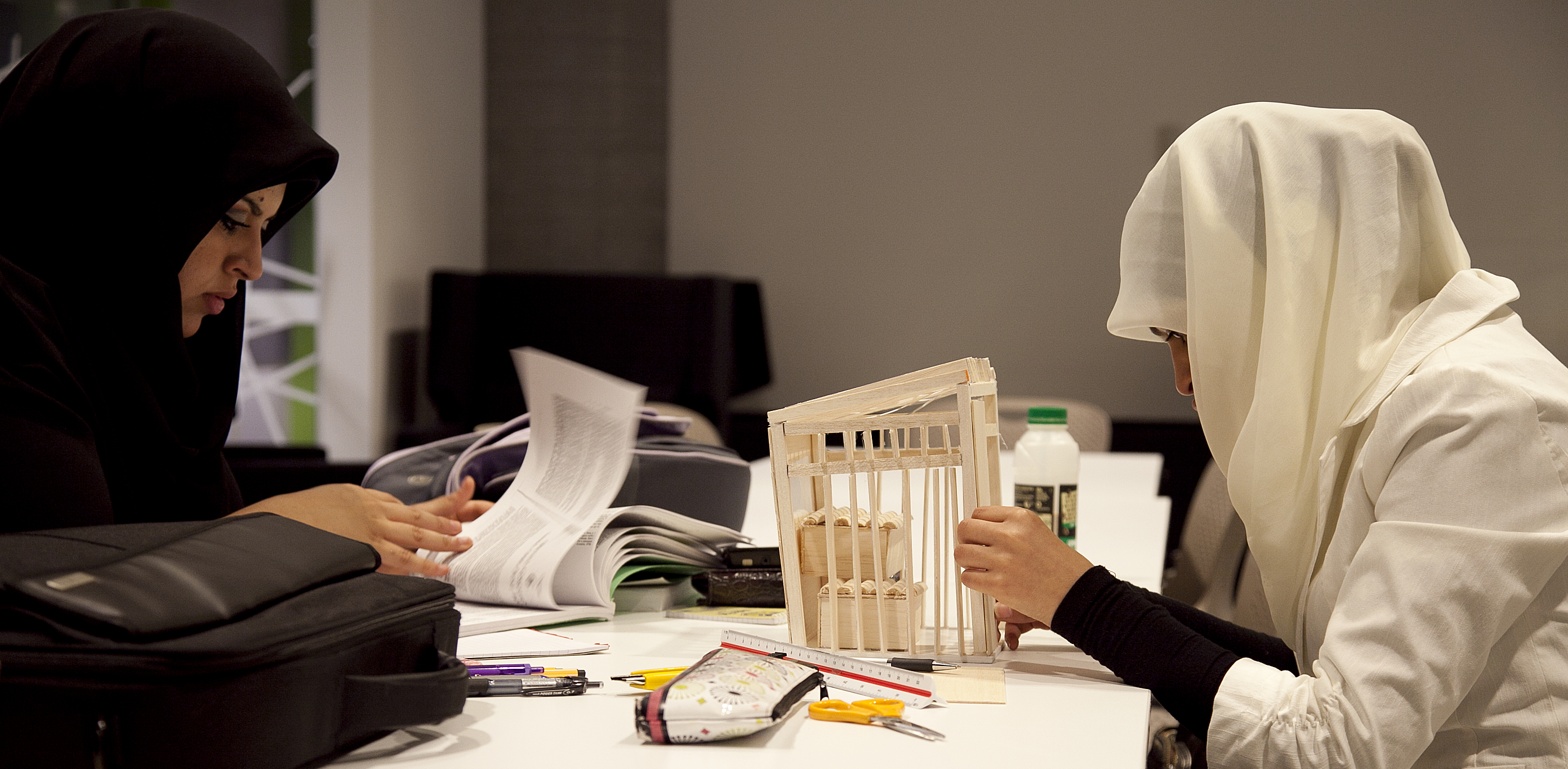 Architecture students working on projects