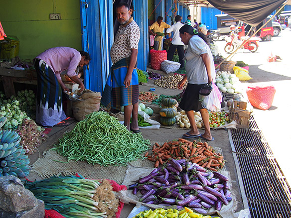 Sri Lankan vegetable farmers selling their produce to intermediaries at a Dedicated Economic Centre
