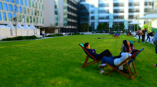 Students are already enjoying the deck chairs and rugs on the Green