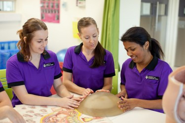 Midwifery students in practice