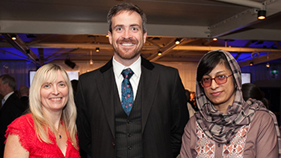 UTS VC Attila Brungs with Professor Carolyn McGregor AM and Afghan human rights champion, Nasima Rahmani