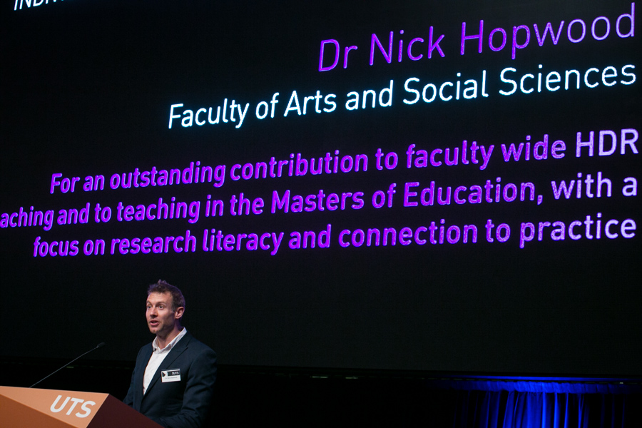 Dr Nick Hopwood, winner of the Indiviual Teaching Award