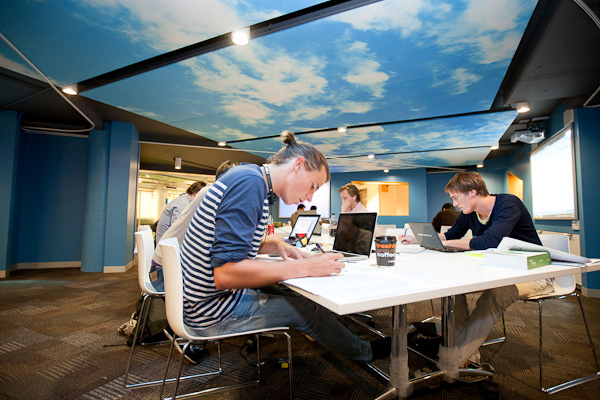 "The ""sand-pit"" collaborative work area, at UTS Haymarket Campus."