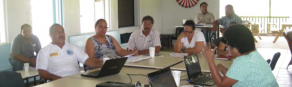 Project participants discussing adaptation and risk management