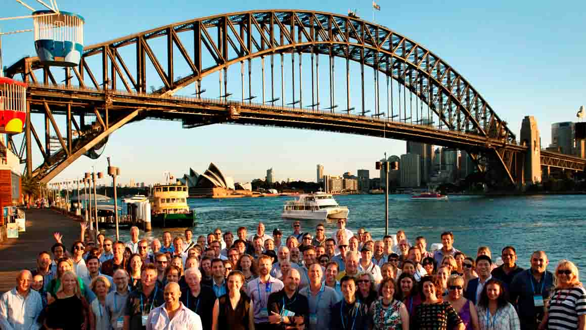 Summer Study researchers in front of the Sydney Harbour Bridge, photo supplied by Chris Dunstan