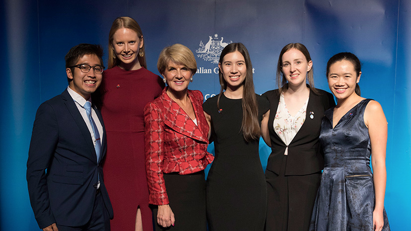 UTS New Colombo Plan (NCP) scholars are congratulated by Minister for Foreign Affairs Julie Bishop. From left to right: Thomas da Jose, a 2016 NCP scholar, Alli Devlin, Julie Bishop, Svetlana Zarkovic, Stephanie Newman and Tiffany Lau