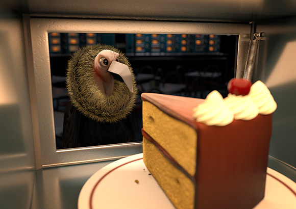 """""""Automat"""" by Oliver Abbott won Best use of 3D, prize given by Krista Jordan at Animal Logic."""