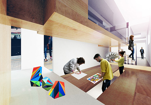 Internal (rendered image) of Chloe Yuen's ART/REHAB CENTRE ON RAILS