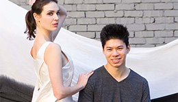 Mark Liu with model wearing a dress constructed using the Drape Measure. Photo by: Shane Lo