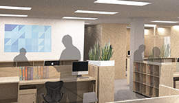 An artist's impression of a sustainable, modular, stackable timber office fit out designed by Forest and Wood Products Australia Limited? Image courtesy of FWPA