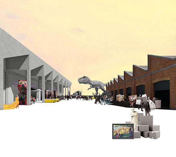 Sydney's Carriageworks reimagined as a contemporary secondary school. Credit: Andrea Lam and Jarrod Philliips