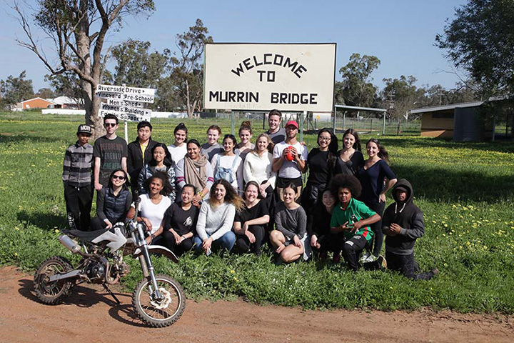 UTS Design students with some of the Murrin Bridge locals