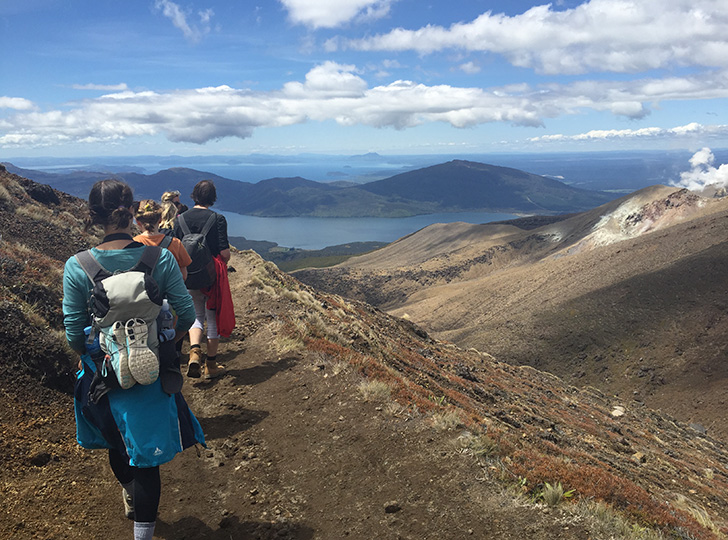 New Zealand Global Studio students hiking at Tongariro National Park Crossing
