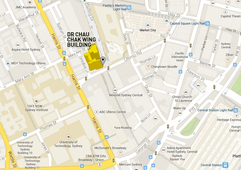 Location of Dr Chau Chak Wing Building