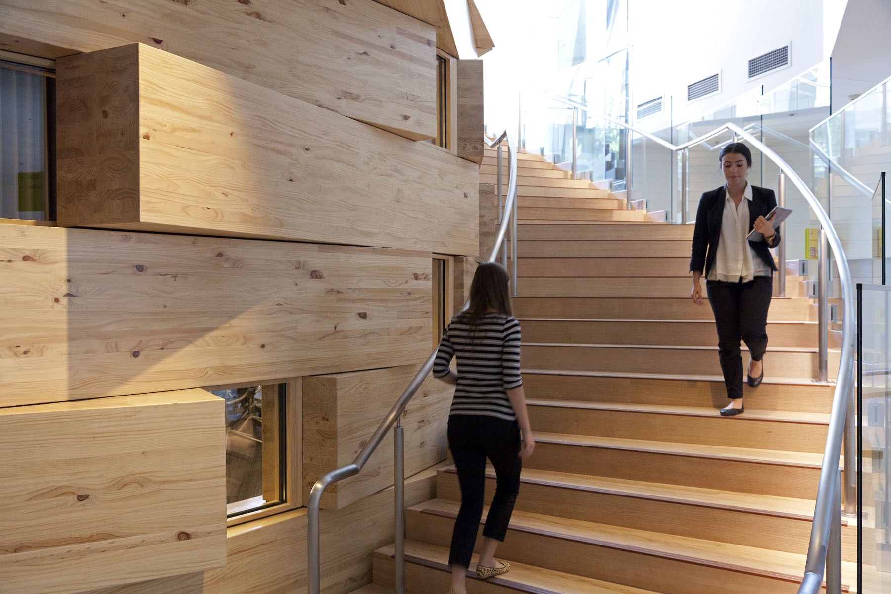 Staircase K, wraps around the oval classroom from level 3 to the student lounge above on level 4.