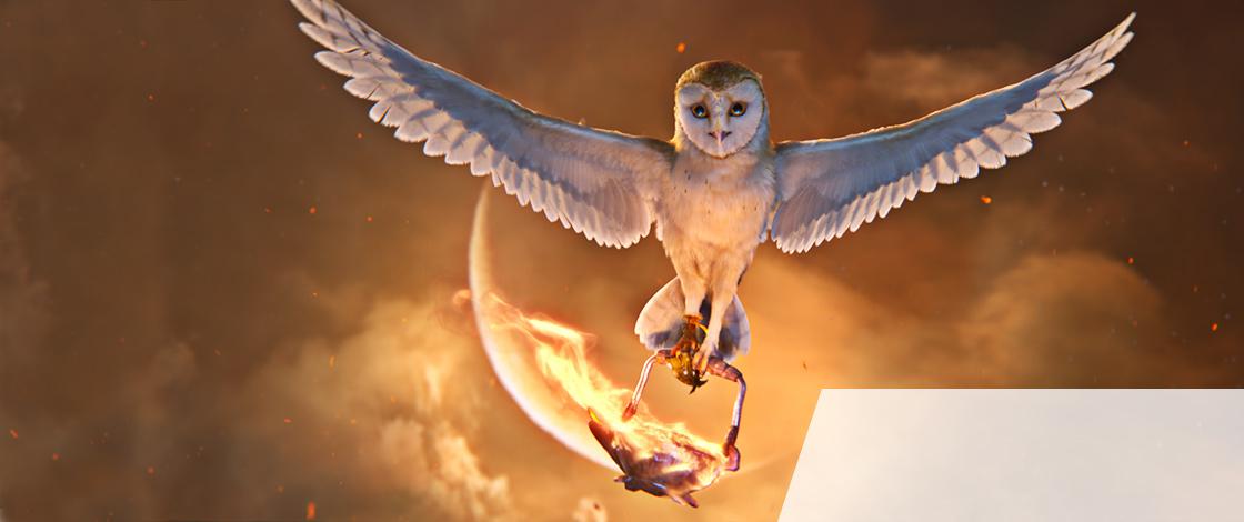 Animal Logic promotional image: Owl with flaming cauldron.