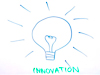 Drawing of a lightbulb with the word 'innovation' underneath