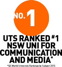 Image with text: UTS ranked number 1 NSW uni for Communication and Media