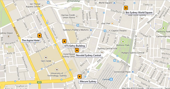 Map of accommodation providers for the DOCAM 2015 conference